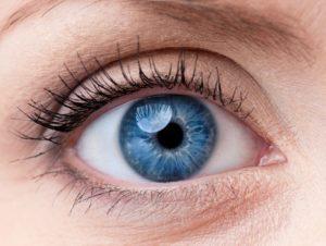 45171339 - beautiful blue woman single eye close up
