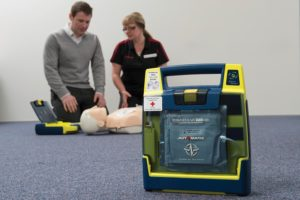 A workplace AED dramatically increases the chances of survival for those who have heart related emergencies
