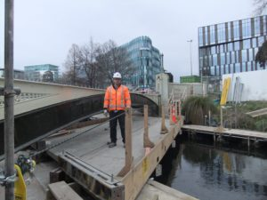 Site manager Scott Brown inspects the mobile platform
